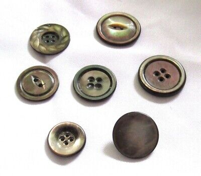 """Vintage Mixed Lot of 7 Dark Smokey Mother of Pearl Buttons 3/4"""" - 1"""""""