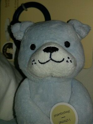 """🐻New🐻 Carters Child Of Mine Teddy Bear Chime & Chew Plush Stuffed Baby Toy 5"""""""