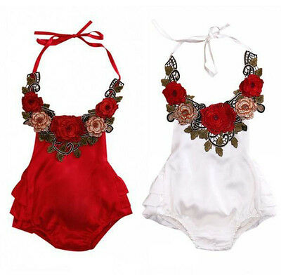 Newborn Baby Toddler Girl Floral Romper Bodysuit Jumpsuit Sunsuit Clothes Outfit