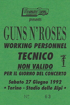 GUNS N' ROSES original pass WORKING PERSONNEL Use Your Illusion Tour (BA.216)