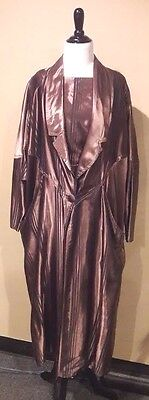 VINTAGE 80's Matching Brown Satin 3-Piece Outfit Skirt Blouse Jacket Set Sz S