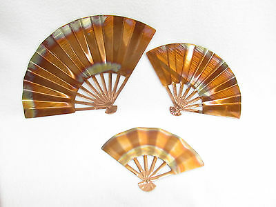 Vtg Homco All Copper Ming Chinese Fans Wall Decoration