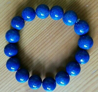 Natural  Genuine LAPIS LAZULI Crystal Stretch Bracelet round 12mm Beads