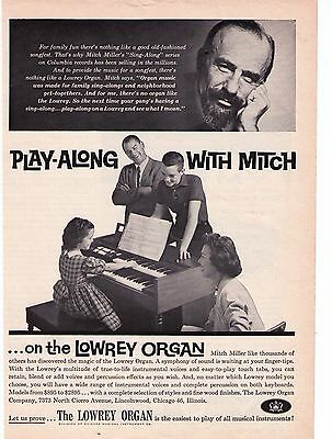 """1960's Mitch Miller """"Lowrey Organ"""" """"Play Along With Mitch"""" Vintage Print Advert."""