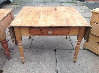 Antique Victorian Pine Farmhouse Drop Leaf Kitchen Scrub Table Shabby Chic