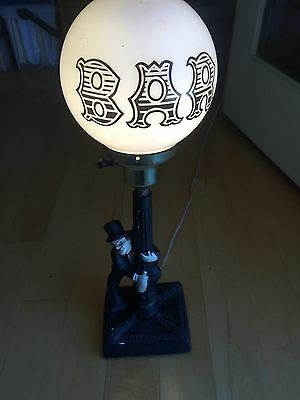 Vintage 50's Drunkin Charlie Chaplin Chalware Lamp/Bar Light with Globe