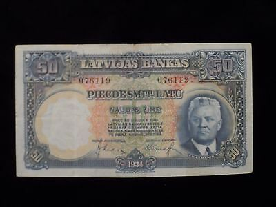 LATVIAN - LATVIA 50 LATU  Bank Note- 1934