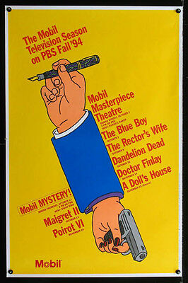 PBS Masterpiece Mystery Theater 1994 FALL SCHEDULE Poster / Diana Rigg Great Art
