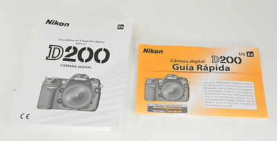 Nikon D 200 Instruction Manual and Quick Start Guide- Original -New- Espanol