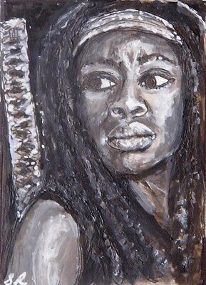 ORIGINAL ACEO sketch card WALKING DEAD MICHONNE pen and ink on card
