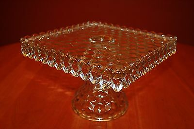 "Fostoria American Clear 10.25"" x 10.25"" x 7"" Square Cake Stand with Rum Well EUC"