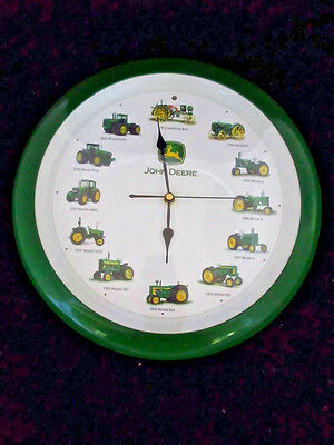 John Deere Tractor Clock Battery Operated Wall w/Recorded Sounds SR