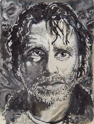 ORIGINAL ACEO sketch card WALKING DEAD RICK GRIMES pen and ink on card