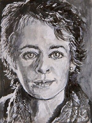 ORIGINAL ACEO sketch card WALKING DEAD CAROL pen and ink on card