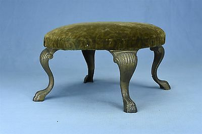 Antique VICTOIRIAN CAST IRON LEGS & TOES ROUND FOOT STOOL VELVET COVERED #03432