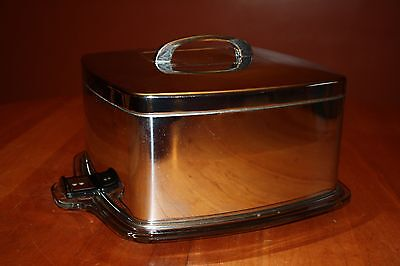 Mid Century Chrome Square Cake Taker with Locking Cover & Footed Glass Plate EUC