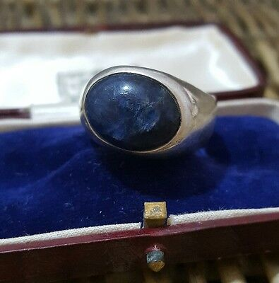 Vintage 1979 Sterling Silver Men's Ring, Blue Sodalite Gemstone, Size X, Heavy