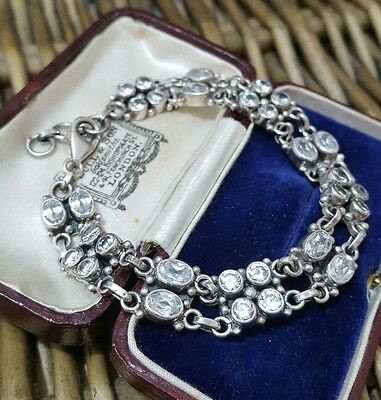 Superb 925 Sterling Silver Tennis Bracelet, 2 Rows Of Sparkly Cz, Heavy, 24 Gr
