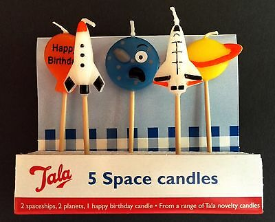 TALA SPACE CANDLES: Birthday Cake, Planet, Rocket, Space Ship, Party, Novelty!