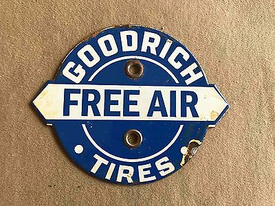 Old Goodrich Tires FREE AIR Station Advertising Porcelain Sign