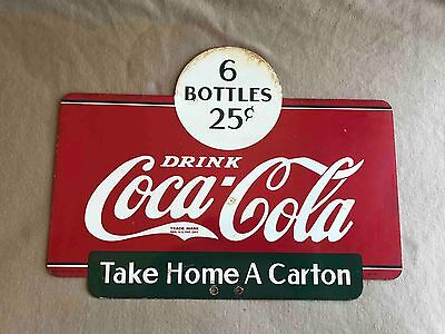 Old Drink Coca-Cola Take Home a Carton 2 Sided Sales Rack Ad Sign 1937 Soda