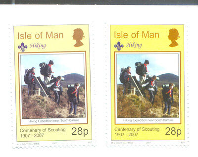 Isle of Man-Scouting 2007 28p sheet and booklet stamp different colours mnh