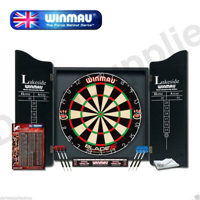 Winmau Blade 5 Lakeside Professional Dartboard with Deluxe Cabinets and Darts