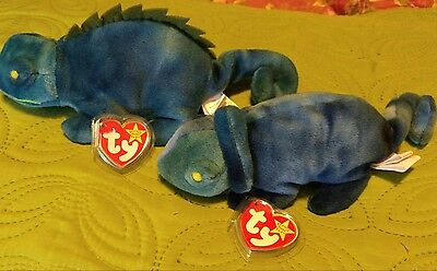 Iggy and Rainbow Beanie Babies With Errors Rare