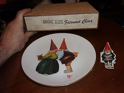 Gnome Plate Orig Box and Gnome Hangtag/ Booklet  GNOME BLISS Fairmount China