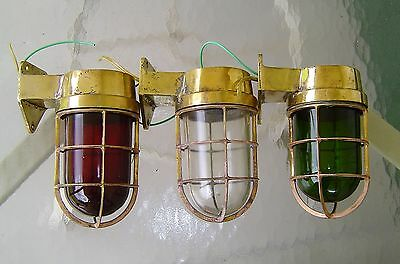 Set of 3 Matched Vintage Red, Green, Clear Nautical Brass Wall Lights