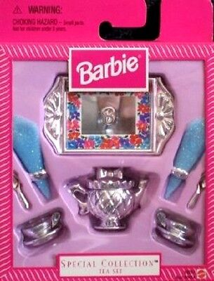 Nib-1997-Mattel Barbie Special Collection: Silver Tea Set With Tray & Napkins ++