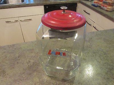 "Vintage LANCE Cracker Store Display Glass Jar 8-Sided 12"" w Original Metal Lid"