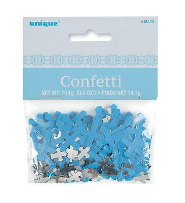 BLUE Christening Religious Cross Party Decorations Boy Table Confetti 14.1g