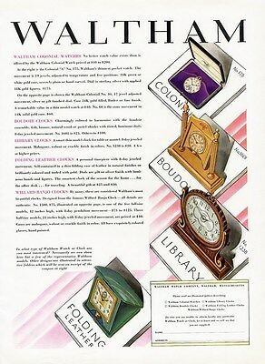 WALTHAM Table Clocks and Pocket Watch Ad 1928 Four Different Styles Shown