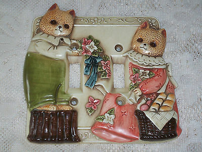 Takahashi Kitten Cat Switchplate Light Double Switch Cover Nursery