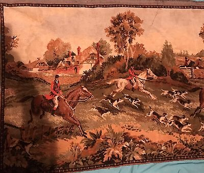 Vintage Large Fox Hunt Scene Tapestry Horses Hunters Trees Church