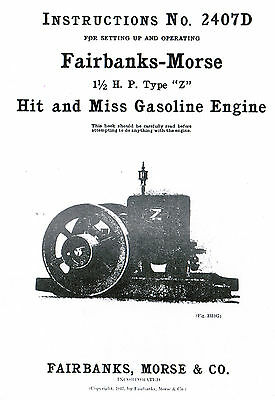 Fairbanks Morse 1 1/2 HP Z Hit Miss Gas Motor Engine Book Manual Igniter 2407D