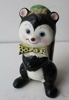 Ceramic Comic Cartoon Black and White Skunk Figurine Statue with Hat and Bow Tie