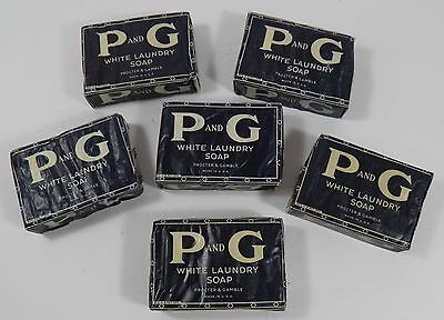 LOT OF 6 VTG WWII ERA P AND G P&G PROCTOR GAMBLE WHITE LAUNDRY SOAP BARS 1940's