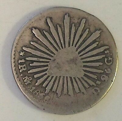 """1858 Mexico 1  Real"" Silver (.903) Coin F - Vf Condition - Not Prof. Graded"