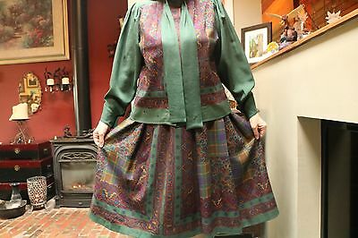Vintage Givenchy EN PLUS Made In Germany Wool Skirt & Blouse Tartan Green Suit