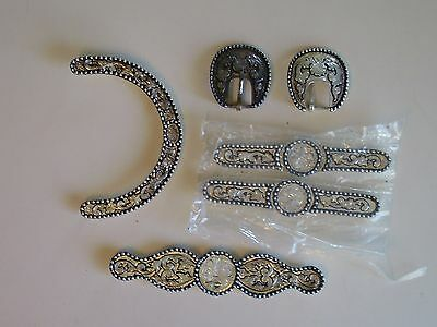 New Sterling Silver Plated Bridle Silver Set 6 Pieces Ear Piece, Buckles, Bars