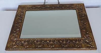 Stylish vintage embossed brass frame with bevelled  edge mirror