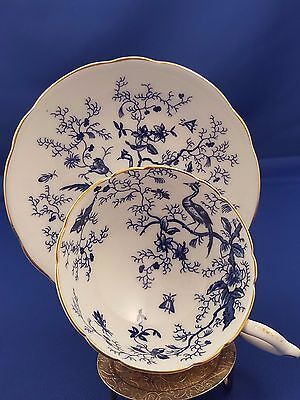"""Vtg Coalport Teacup Saucer """"cairo"""" Blue Birds Wide Mouth Footed Tea Cup Lovely"""