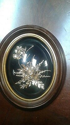 Vintage Flora Hawaii Orchid Encased in 24K Gold in Convex Frame