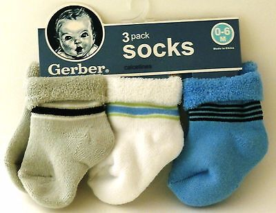 Gerber Baby Boy 3 pack Variety Socks size 0-6 months Baby Shower Gift
