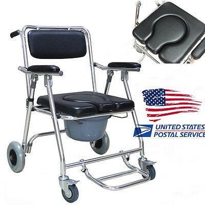 Commode Wheelchair Mobile Bedside Toilet Shower Chair Rolling 4 Brakes USA SHIP