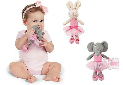 Mud Pie MK6 Baby Girl Knit Toy Ballerina Bunny Or Elephant Plush Rattle 2112227