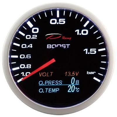 D Racing 4in1 Ladedruck Anzeige Öldruck Öltemperatur Volt gauge Multifunktion