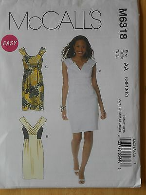 McCall's EASY Sewing Pattern-Misses' LINED DRESSES--Size:  6-12--UNCUT!